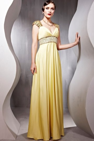 V neck Short Sleeves Beaded Floor length Yellow Prom / Evening Dress