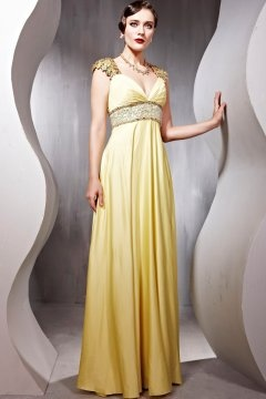 Cap Sleeves Empire Floor Length Yellow Graduation Dress In Stock