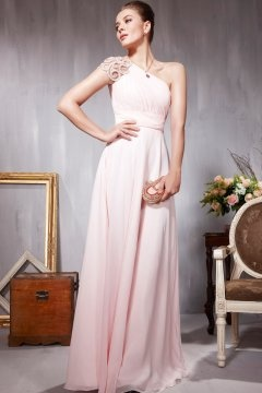 Pink Beaded One Shoulder Sheath Evening Dress