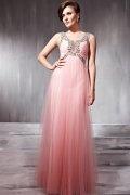 Robe de bal/de soirée rose moulante ornée de strass à encolure U sans manches
