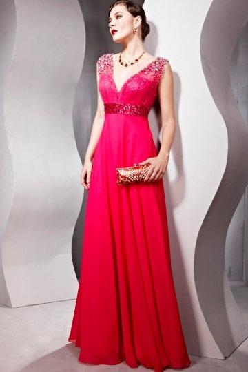 Sheath V neck Sleeveless Beaded Red Chiffon Evening Dress