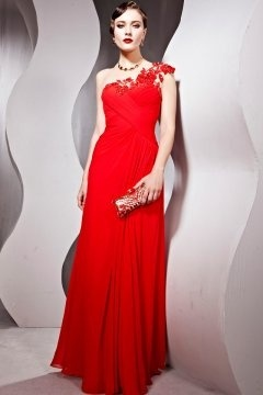 Blyth Organza Red One Shoulder Embroidery Flower Sheath Evening Gown