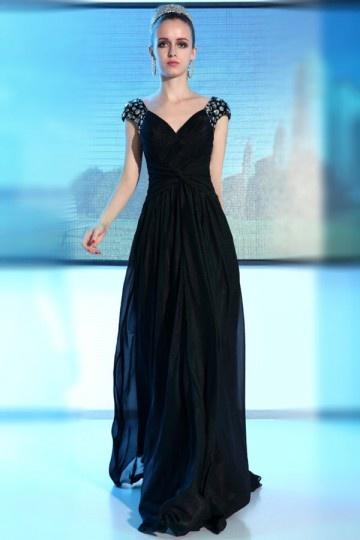 Vestido de Noche/Fiesta de baile de Lyocell Negro con Escote en V Cap Mangas Corte Recto