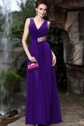 Beaded V neck Chiffon Purple Sheath Formal Evening Dress