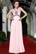 Beading Pleats Round Neck Pink Formal Evening Dress