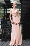 Robe de cérémonie rose longue asymétrique orné de strass