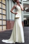 Lace Ruched Square Neck Tencel Column Formal Evening Dress