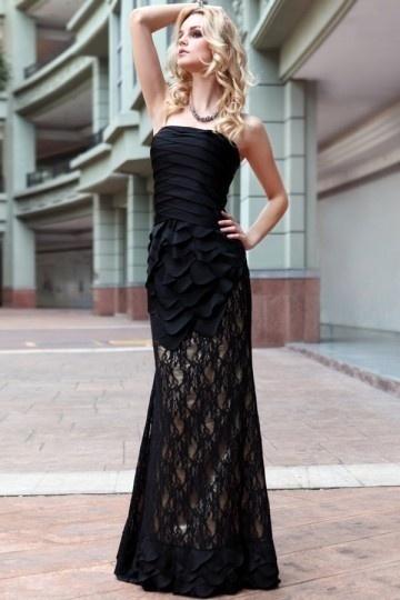 Lace Flared Black Bandeau Chiffon Prom / Evening Dress