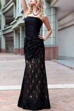 Bridgwater Fille Docean Black Lace Flared UK Prom Dress in Full length