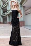 Black Flared Bandeau Chiffon Lace Prom/Evening Dress