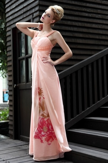 Dressesmall New Lace Printing Straps Tencel Evening Dress