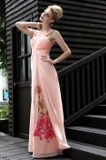 New Lace Printing Straps Tencel Evening Dress