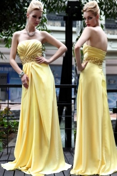 Yellow Beaded Strapless Floor-length Prom Evening Dress