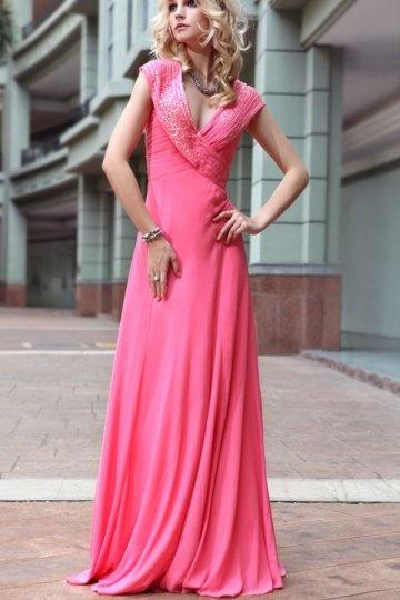 V neck Beaded Peach Evening Dress