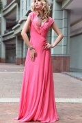 V neck Beaded Peach Evening Dress