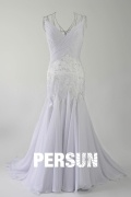Mermaid V neck Court Train Lace Tencel Wedding Dress