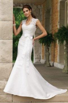 Discount Satin Mermaid Sleeveless Bow Court Train Wedding Dress