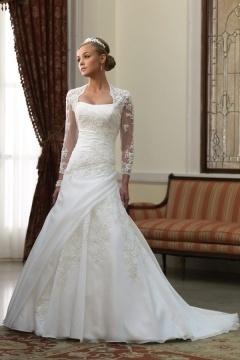 Bromyard Noble Strapless Chapel Train Pleats Wedding Dress