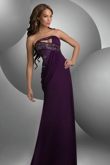 Purple Beaded Cut Out Sheath Strapless Chiffon Evening Dress