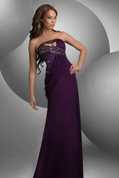 Bradninch Strapless Purple Pleats Evening Gown