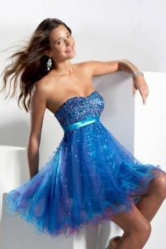 Sweetheart Strapless Sequins Short Blue Cheap Cocktail Dress