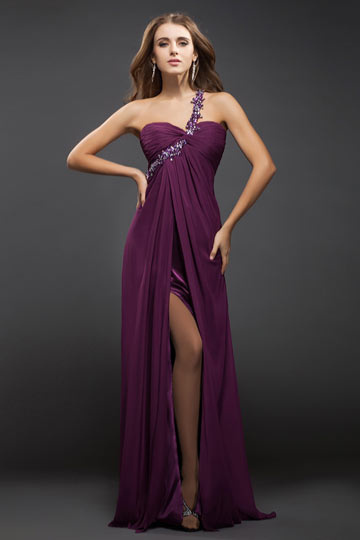 Dressesmall Beading One Shoulder Chiffon Sheath Formal Dress