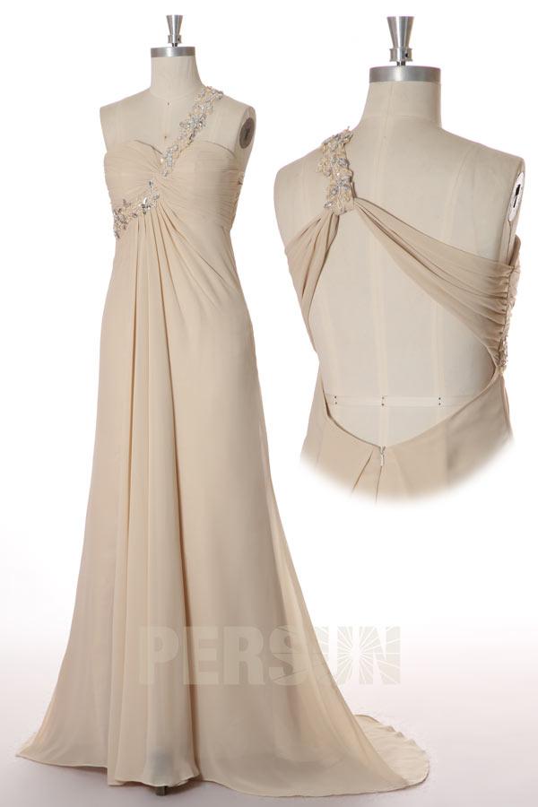 Robe cérémonie mariage fendue épaule asymétrique