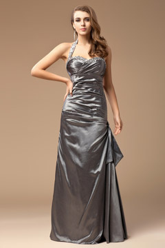 Sweetheart Halter Ruched Silver Long Evening Dress UK