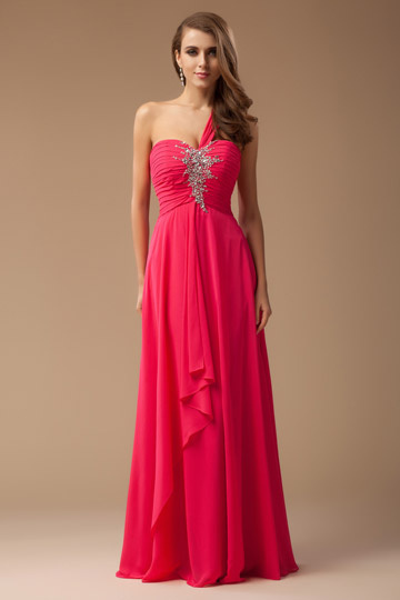 Buckfastleigh Chiffon One Shoulder Beading High Waist Evening Gown