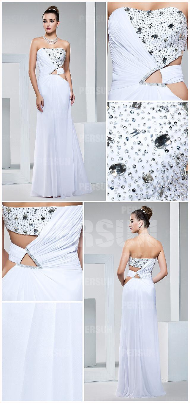 white chiffon evening dress details