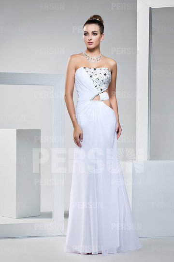Sexy Beaded A line Strapless Chiffon Evening Dress