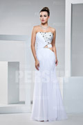 Strapless Bandeau Side Cut Out Beading Chiffon Evening Dress