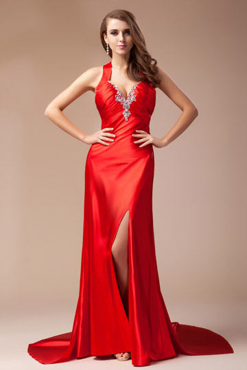 Dressesmall Elegant Beading Open Back V neck Column Evening Dress