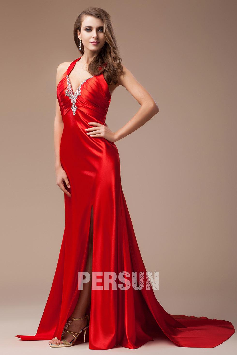 Robe de soirée rouge sexy col V avec ouverture frontale