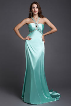 Ruching Beading Halter Satin Bandeau Column Evening Dress