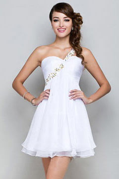 One Shoulder A line Chiffon White Short Cocktail Dress