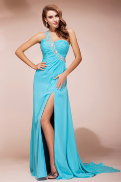 Sequined Slit Front One Shoulder Chiffon Column Evening Dress