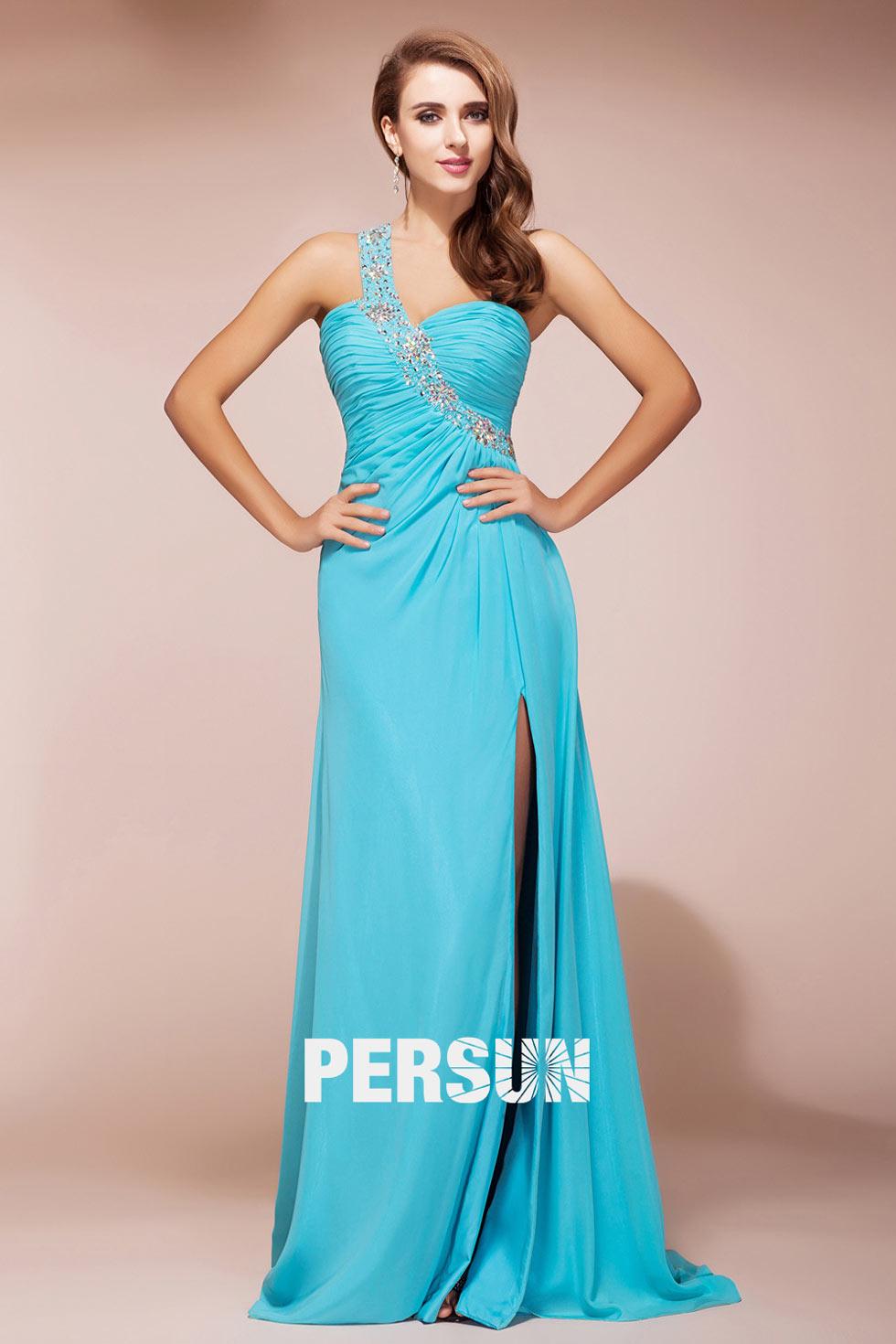 robe turquoise épaule asymétrique