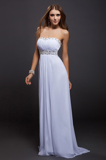 Strapless Open Back Ruching Beading Chiffon Evening Dress