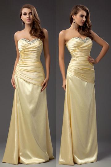 Hermoso Vestido de Noche Escote Corazón Imperio Corte Recto Satén