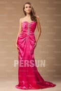 Beading Pleats Sweetheart Satin Column Evening Dress