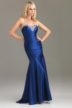 Chatham Sweetheart Flared Beading Mermaid Open Back Evening Dress