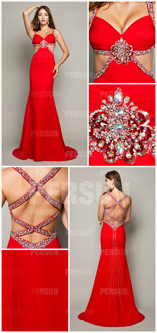 red chiffon evening dress