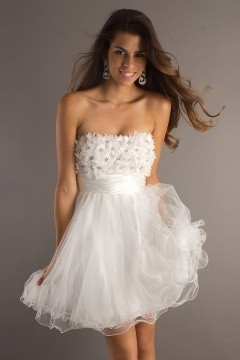 Strapless Tulle Backless Empire White Cocktail Dress