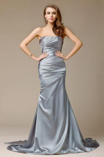 Dressesmall Beading Strapless Satin Mermaid Evening Dress