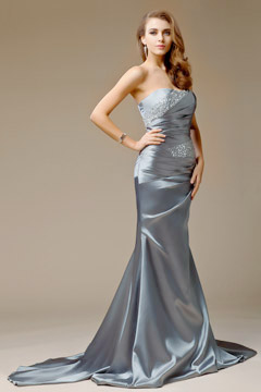Beaded Strapless Mermaid Satin Evening Dress