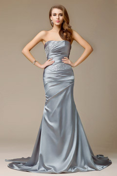 Beading Strapless Satin Mermaid Evening Dress
