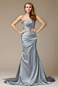 Strapless Beading Mermaid Column Floor-length Satin Evening Dress