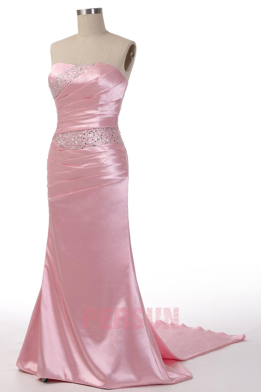 Beading Strapless Satin Mermaid Evening Dress