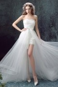 Strapless A line Lace Sweep Train Wedding Dress